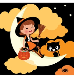 Little witch riding on the moon on Halloween night vector image