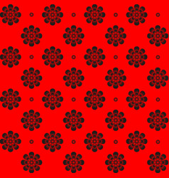 monochrome pattern symmetrical flower on red vector image vector image