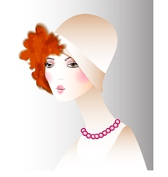Retro girl in a hat fashion vector image