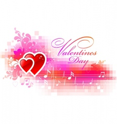 valentines pixelated background with hearts vector image vector image