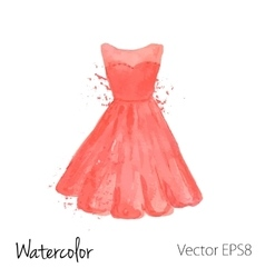 watercolor painted red dress vector image