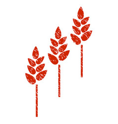 wheat plants icon grunge watermark vector image