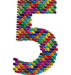 3d font number 5 vector
