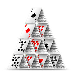 card house isolated on white vector image vector image