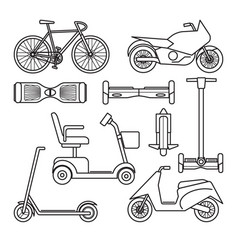 collection of bike and scooter icons vector image
