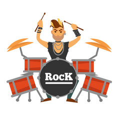 drum player with iroquois performs rock song vector image vector image