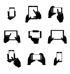 Hands holding phone and tablet icons set vector image vector image