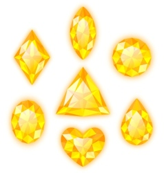 Set of yellow gems isolated on white vector image vector image