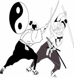 Asian sword fight vector image vector image