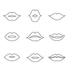 lips outline thin art set vector image vector image