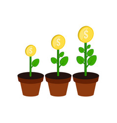 money growth concept symbol flat isometric icon vector image vector image