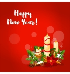 New year candle arrangement greeting card vector