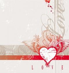 vintage hand drawn flaming heart vector image vector image