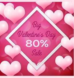 big valentines day sale 80 percent discounts with vector image vector image