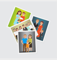 happy family group portraits set vector image vector image