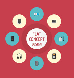 icons flat style projector tablet control device vector image vector image