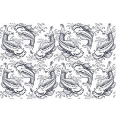 koi carp seamless pattern version for white vector image