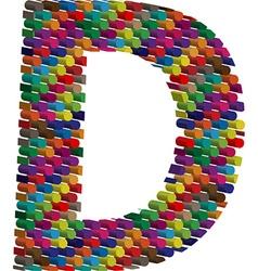 3d font letter D vector image