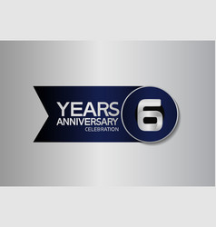 6 years anniversary logo style with circle vector