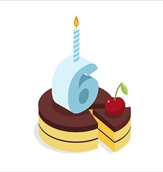 6 years birthday cake isometrics Number six with vector image