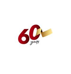 60 years anniversary celebration gold ribbon vector