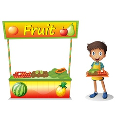 A young boy selling fruits vector