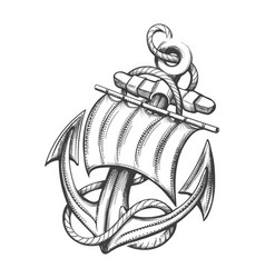 Anchor with sail tattoo in engraving style vector