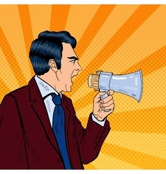 Angry Businessman Shouting in Megaphone Pop Art vector