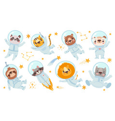 animals astronauts space team cute animal in vector image