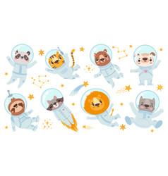 Animals astronauts space team cute animal vector