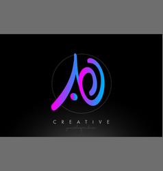 ao artistic brush letter logo handwritten vector image