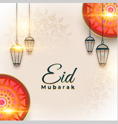 Arabic eid mubarak greeting in artistic style vector