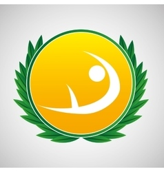 Artistic gymnatic symbol label laurel wreaths vector