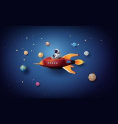 Astronaut floating in stratosphere vector