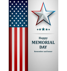 banner for memorial day american flag with star vector image