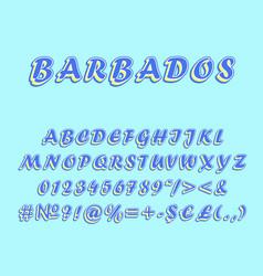 barbados vintage 3d alphabet set vector image