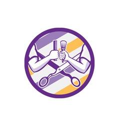 Barber Hand Comb Brush Scissors Circle Retro vector image
