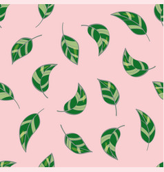 beautiful seamless pattern with leaves on pastel vector image