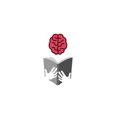 Book brain reading logo vector