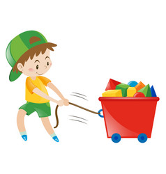 Boy pulling cart fullo of blocks vector