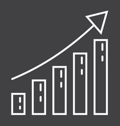 Business growth line icon business and financial vector