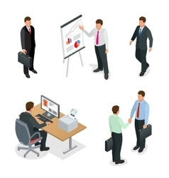 Business man isometric set Businessman isolated vector