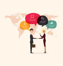 Businessman handshake with world map background vector