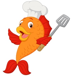 Cartoon chef fish holding spatula vector