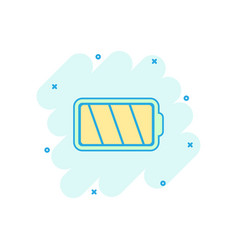 cartoon colored battery icon in comic style vector image