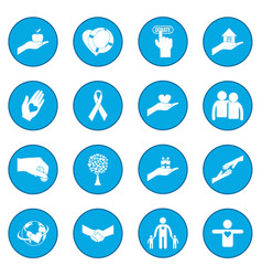 Charity icon blue vector
