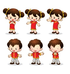 Chinese boy girl vector