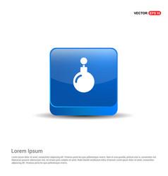 christmas ball icon - 3d blue button vector image