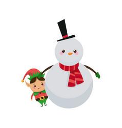Christmas snowman and elf hug character vector