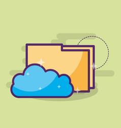 cloud computing storage hosting folder files vector image